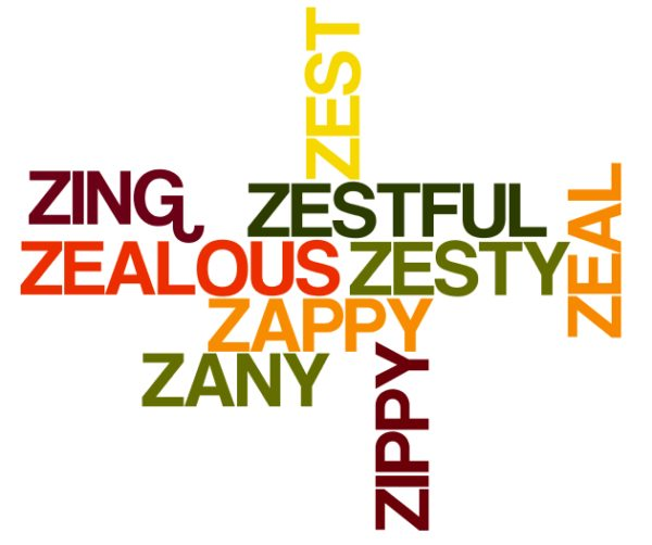 Positive words starting with letter Z