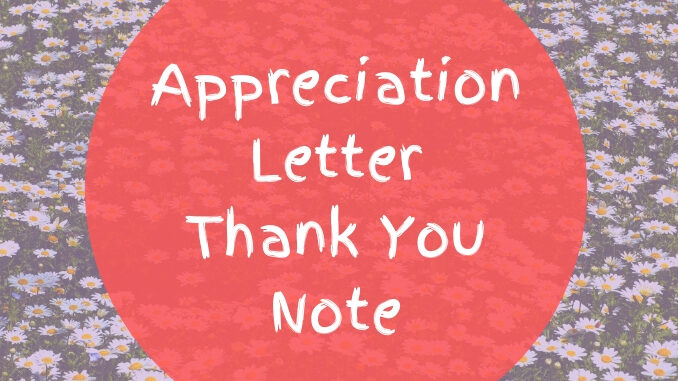 Appreciation Letter - Thank You Note